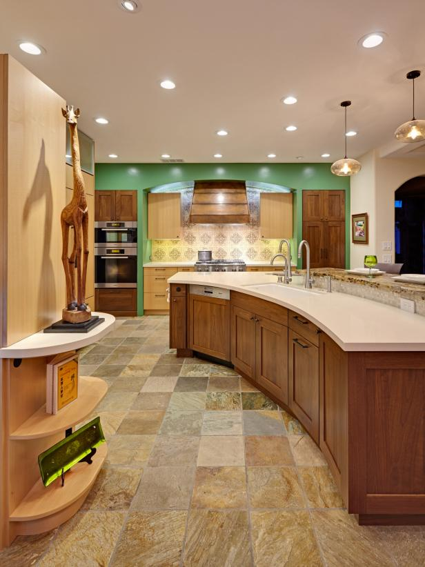contemporary kitchen replete with natural materials.