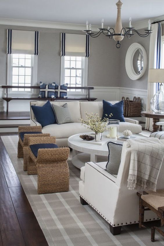 Bring the shore into home with beach style living room for Classy beach decor