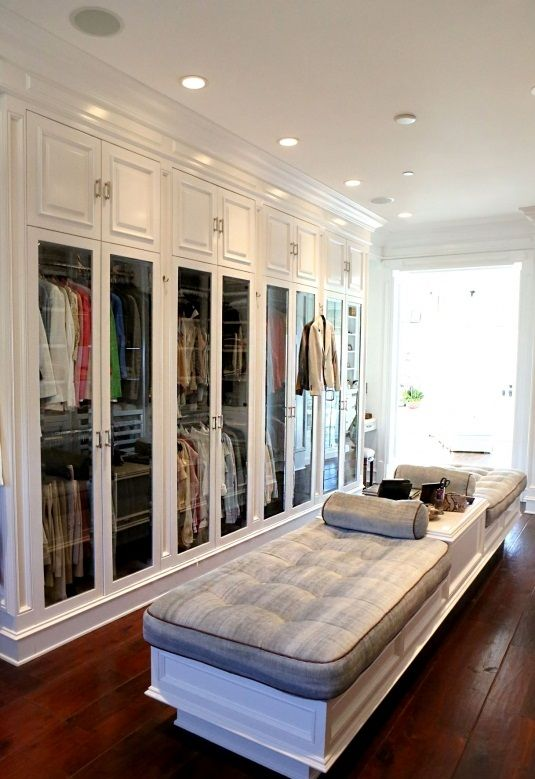 glass doors and tufted bench seating