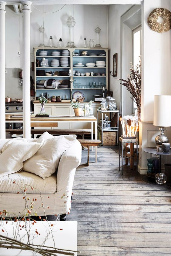 rustic wood floors and eclectic furnishings