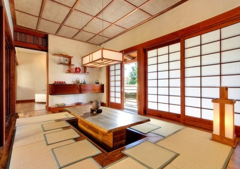 Asian Dining Room Ideas With Japanese Style Dining Table And Tatami Mats And Shoji Screens And Lantern