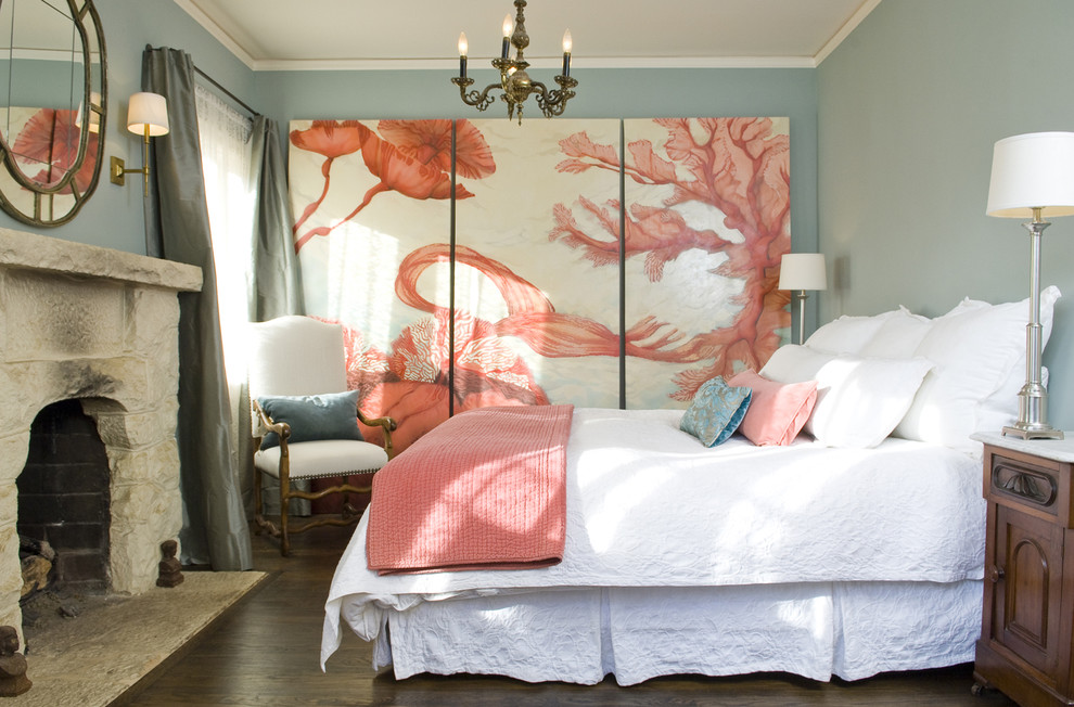 Cool-Fabric-Blue-Coral-Decorating-Ideas-Images-in-Bedroom-Mediterranean-design-ideas