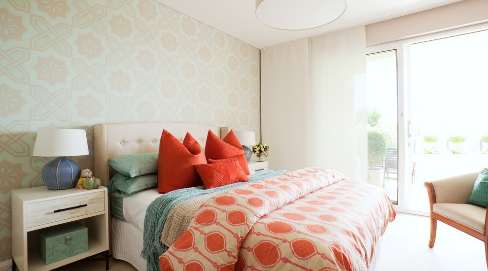 Coral Bedspread Bedroom Eclectic with  Beach Style Accessories Bedroom Wallpaper