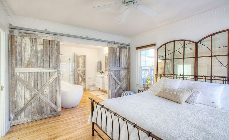 Farmhouse Bedroom Ideas With Rustic Sliding Barn Doors Design And Wrought Iron Bed With