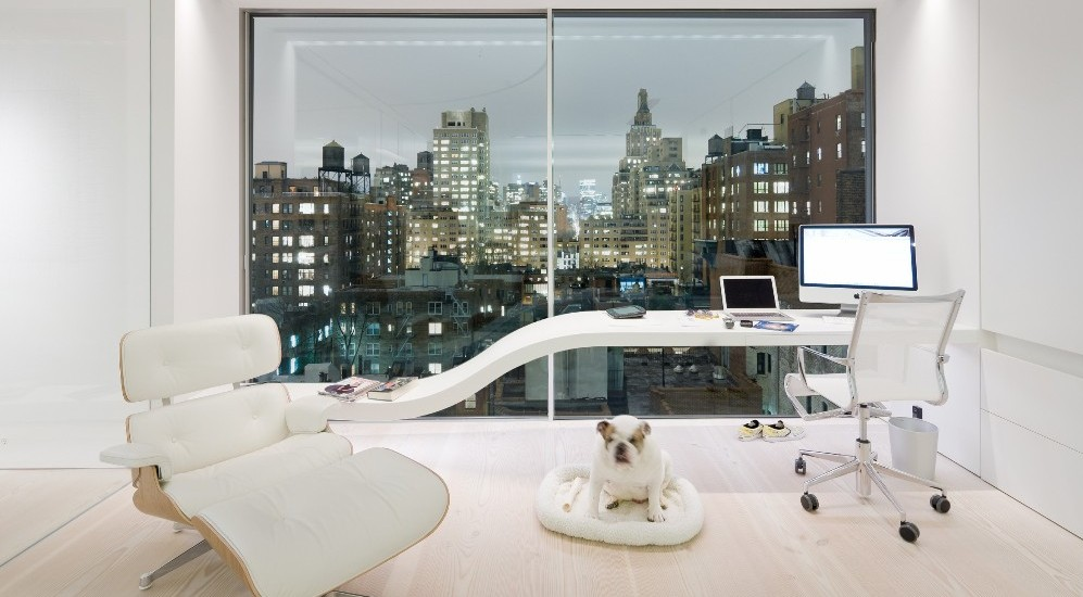 Fascinating-Modern-Home-Office-with-Unique-Desk-and-Cozy-Chair-and-Big-Window