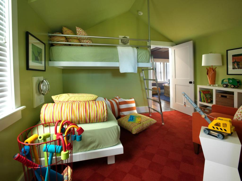 Colorful bedroom design ideas for kids - Green Contemporary Kids Bedroom