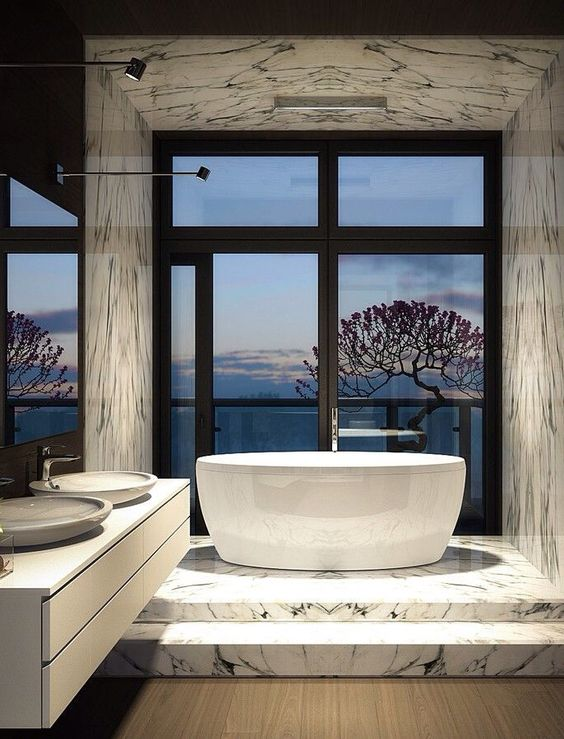 30 modern luxury bathroom design ideas for Bathroom design luxury
