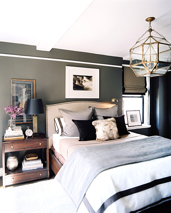 Masculine bedroom with eclectic style