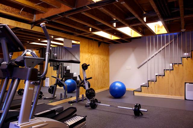 Modern Basement Home GYM Design Idea