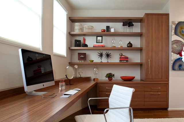 Modern Home Office with Built-In desk