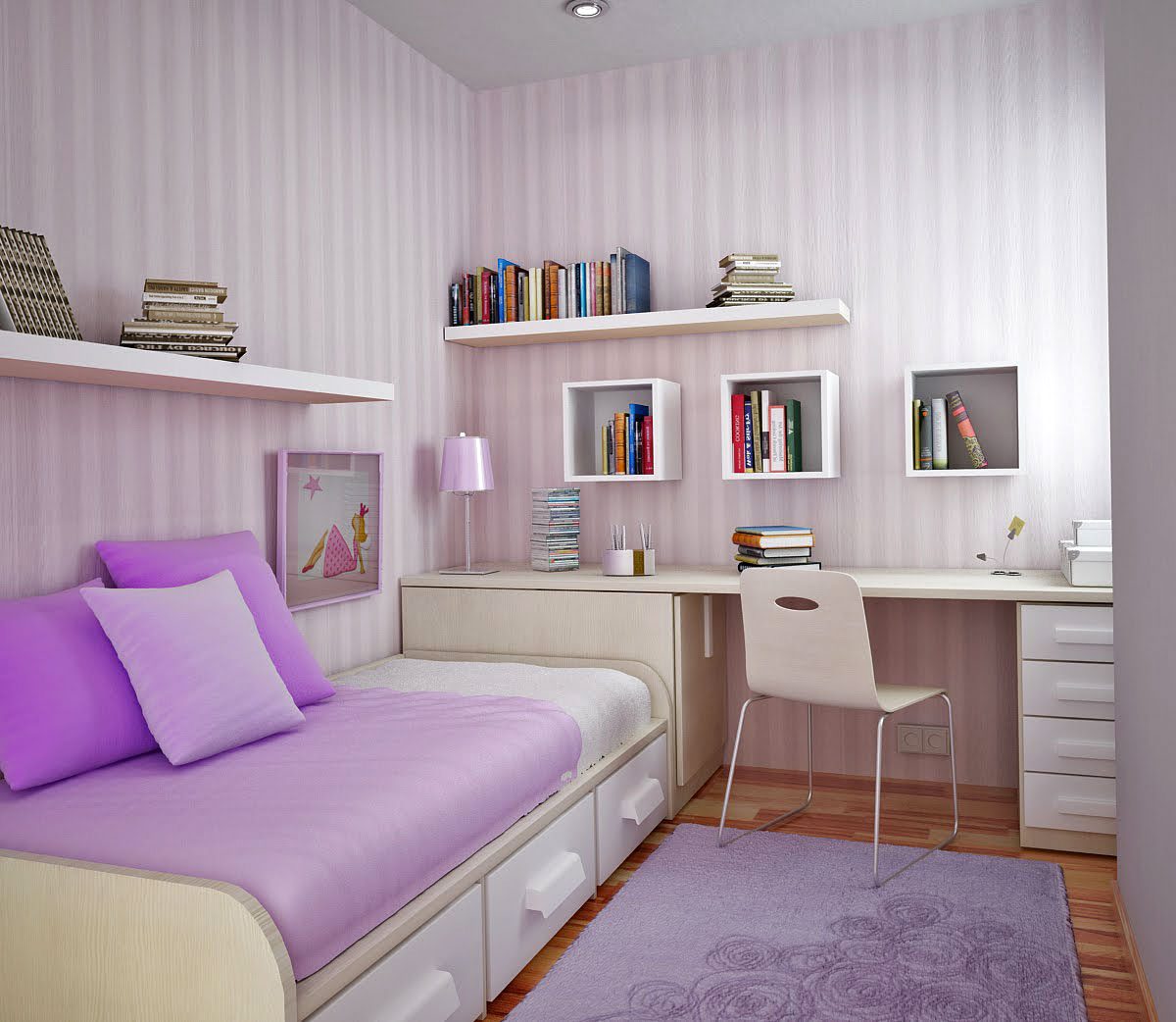 Modern Kid Bedroom Design violet