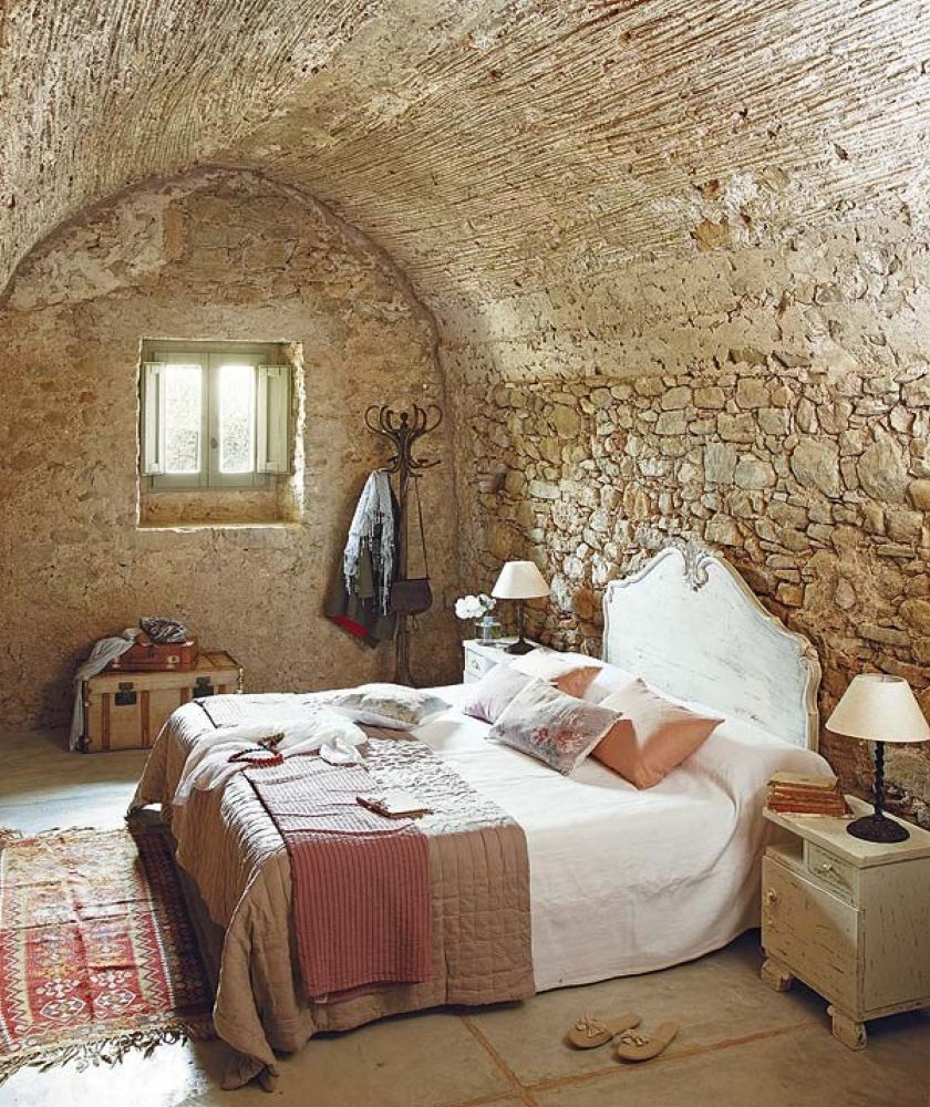 Natural Rock Wall For Rustic Bedroom Ideas With Simple Bed Side Cute Hanger Closed