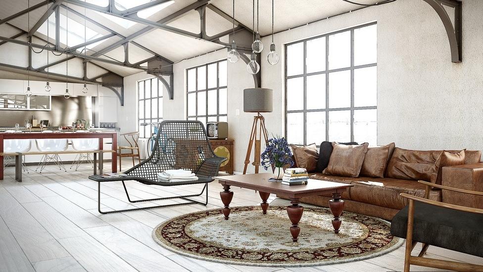 Open Plan Industrial Living Room