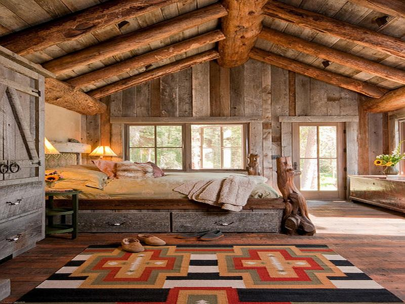 Stunning-Design-Bedroom-Rustic-Theme-With-Wooden-Of-Wall