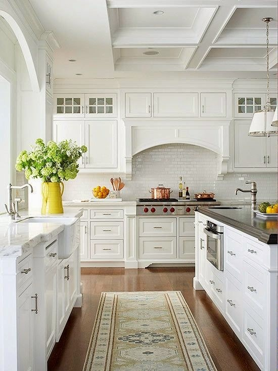 Traditional Kitchen with Subway Tile, Flat panel cabinets, Glass panel, Pendant light,