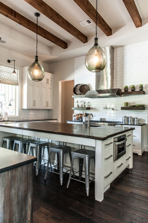 25 stunning transitional kitchen design ideas for Farmhouse style kitchen lighting