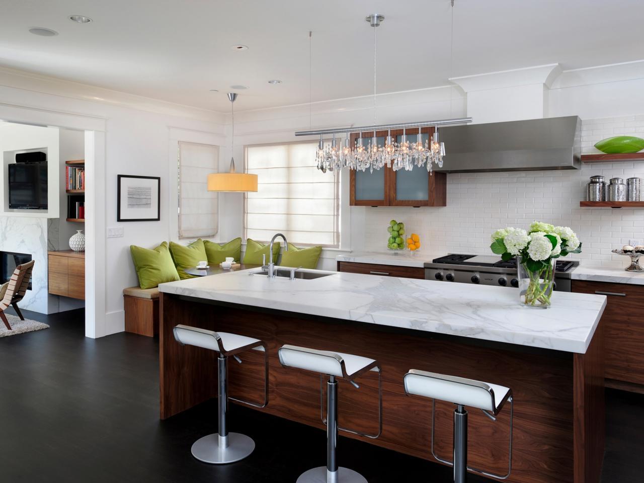 White Kitchen With Dark Wood Flooring