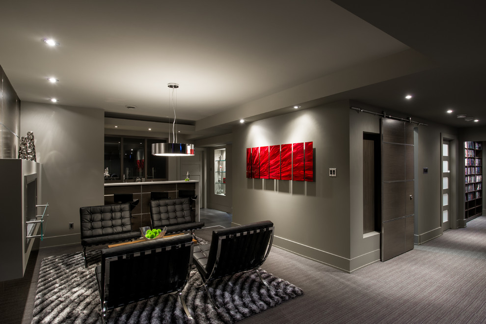 Convert your contemporary basement into livable space for Home theater basement design ideas