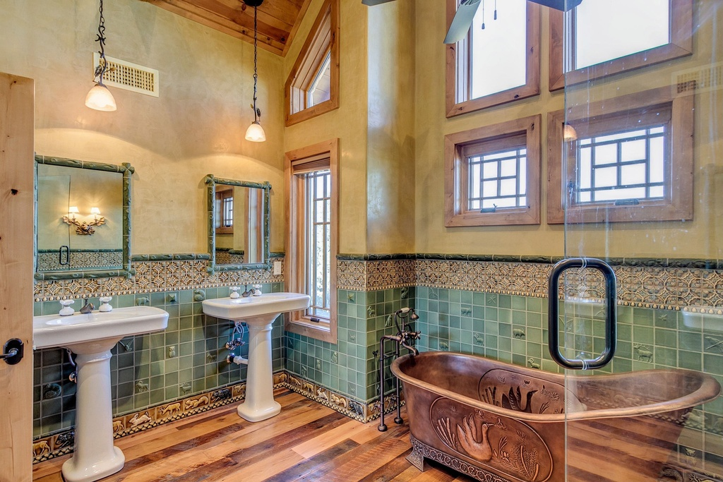 craftsman-master-bathroom-with-pedestal-sink-and-fireclay-tile