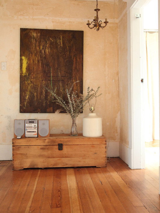 eclectic-entry-wooden flooring