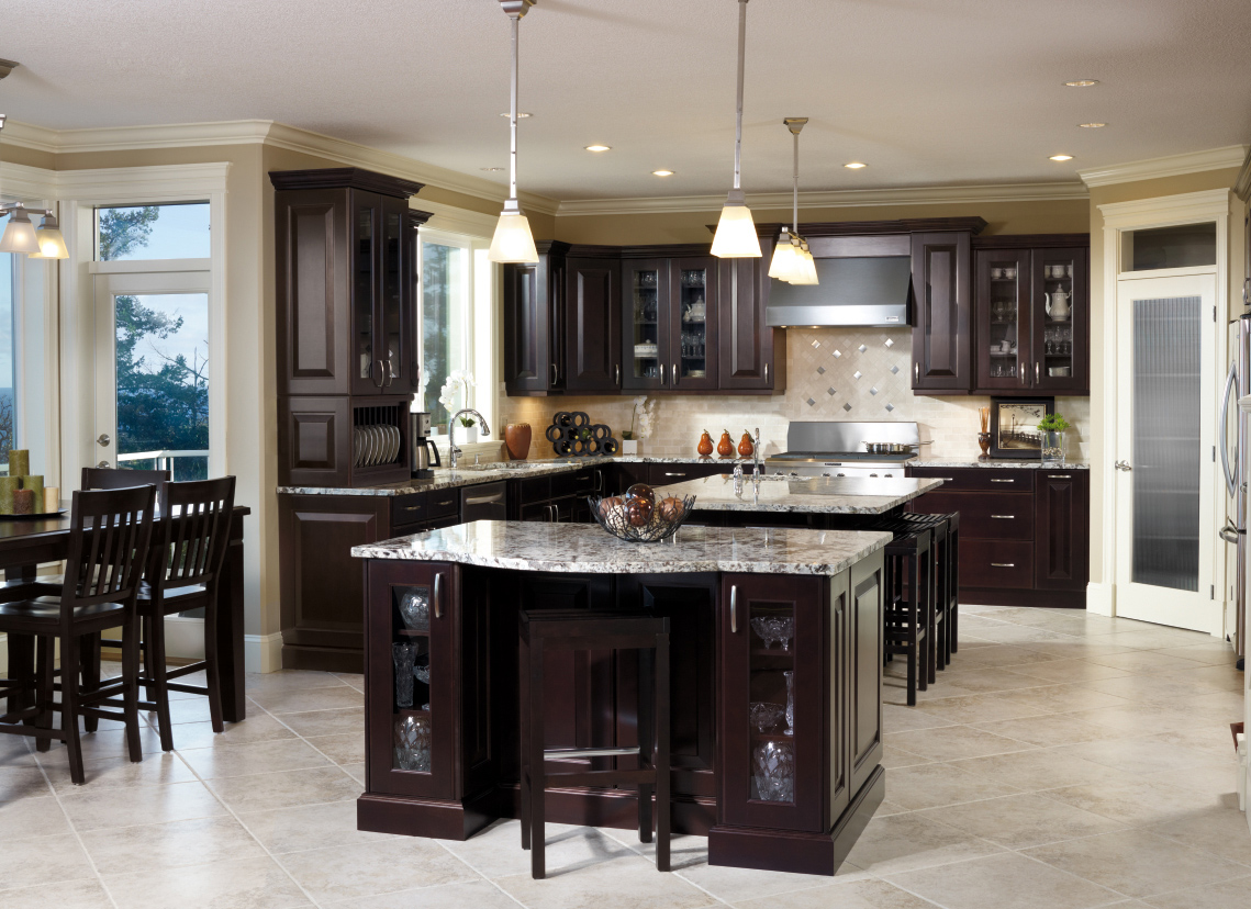 traditional kitchen design with black floor tiles