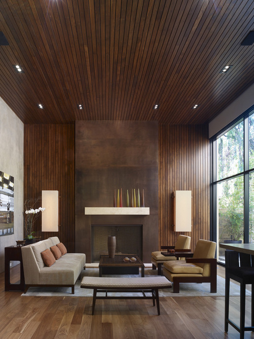 modern-living-room with wooden furniture all over