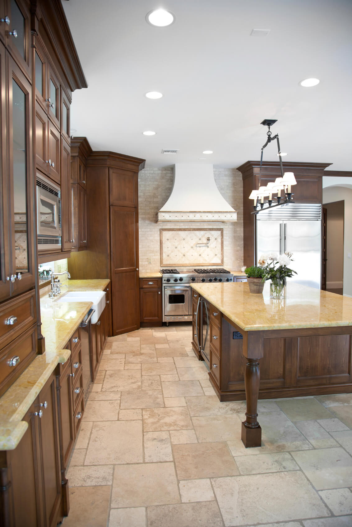 natural wood surfaces and yellow marble countertops
