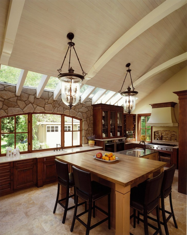 rounded-archways-ceiling-traditional-kitchen-unique-pendant-lamp