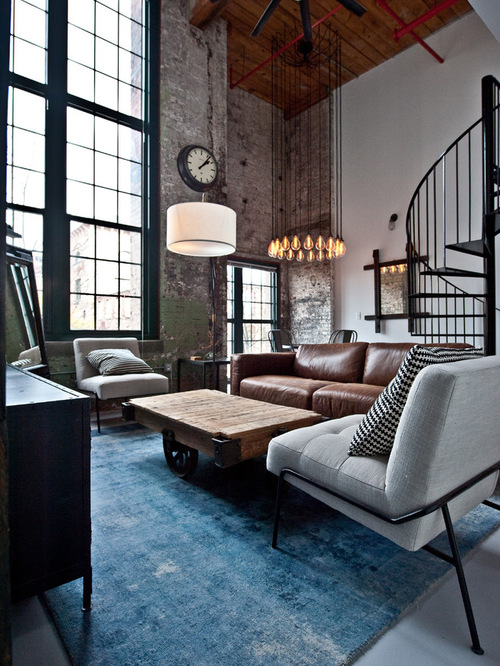 Industrial Modern Living Room Neutral Fabrics Metal