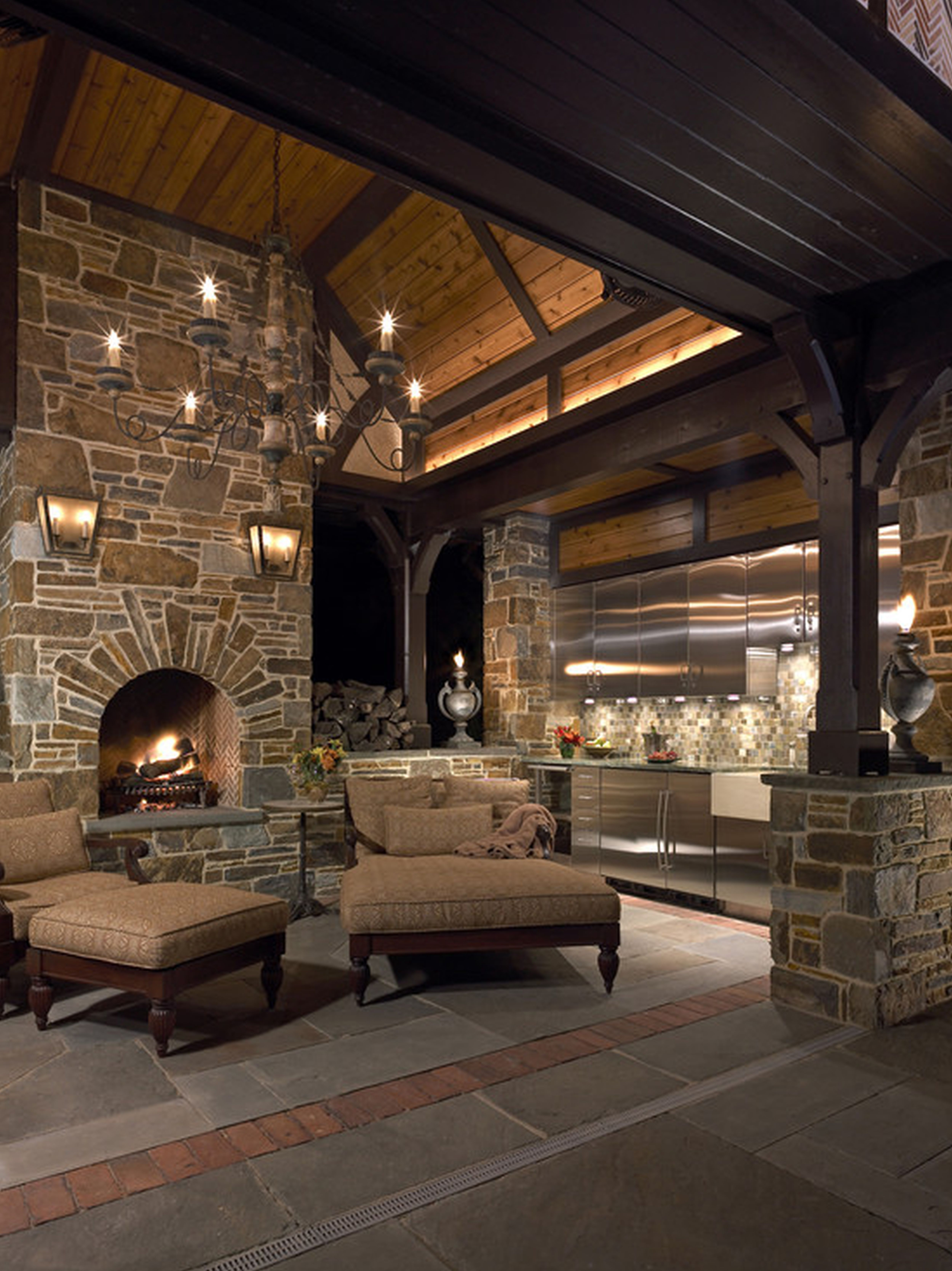 Architecture Cool Stone Fireplace Pictures