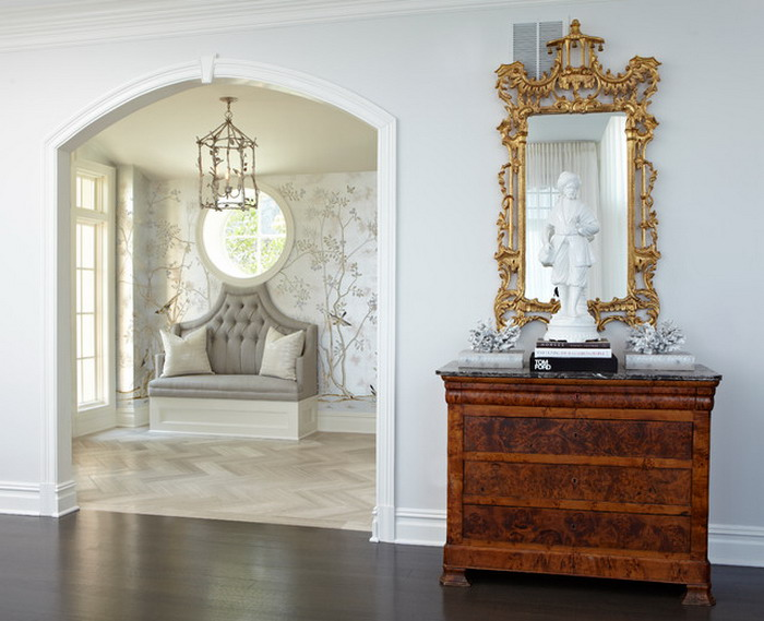 Asian Tree Wall Designs in Traditional Entry