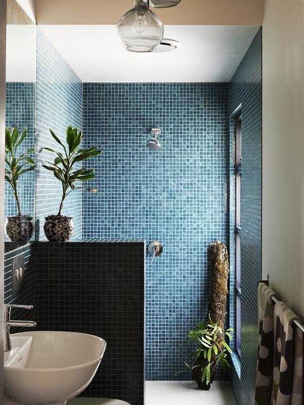 Blue doorless walk in shower