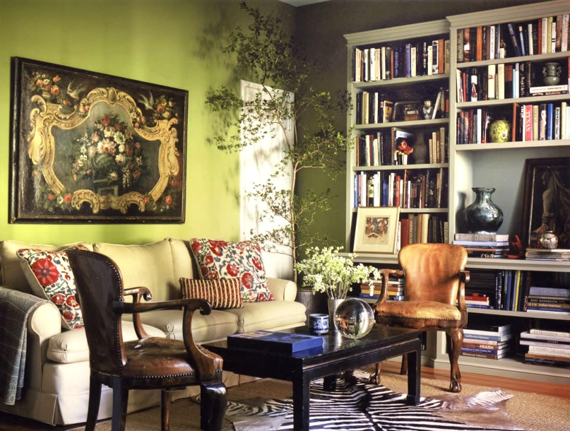 Zebra decor living room - Bohemian Living Room With Olive Green Wall Paint Along With Large