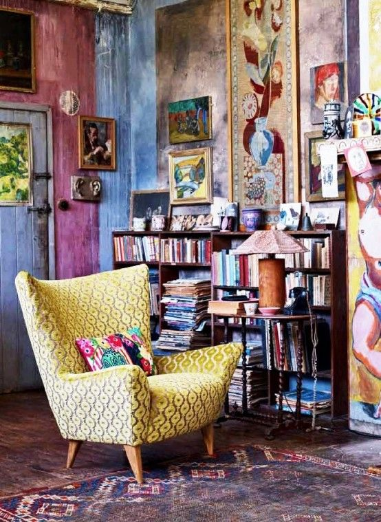 Cool Boho Chic Interior With Colorful Rustic Wall Decor