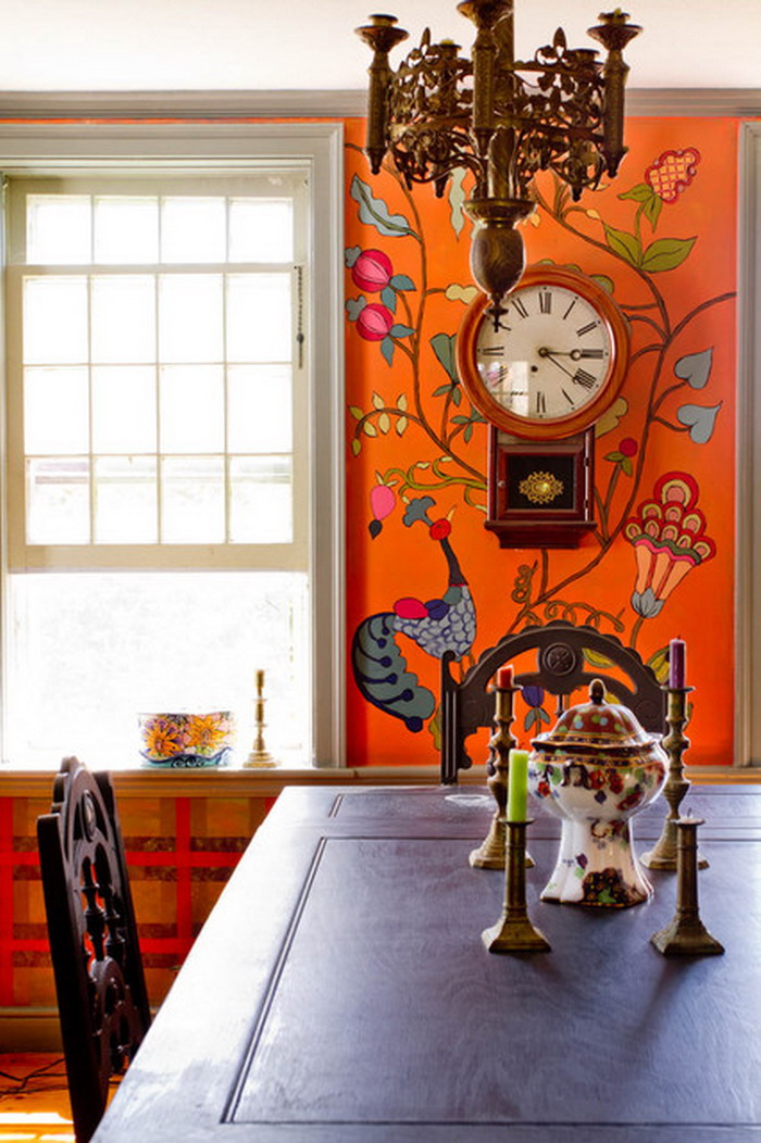 Spice up your dine with best eclectic dining rooms for Mural painting ideas