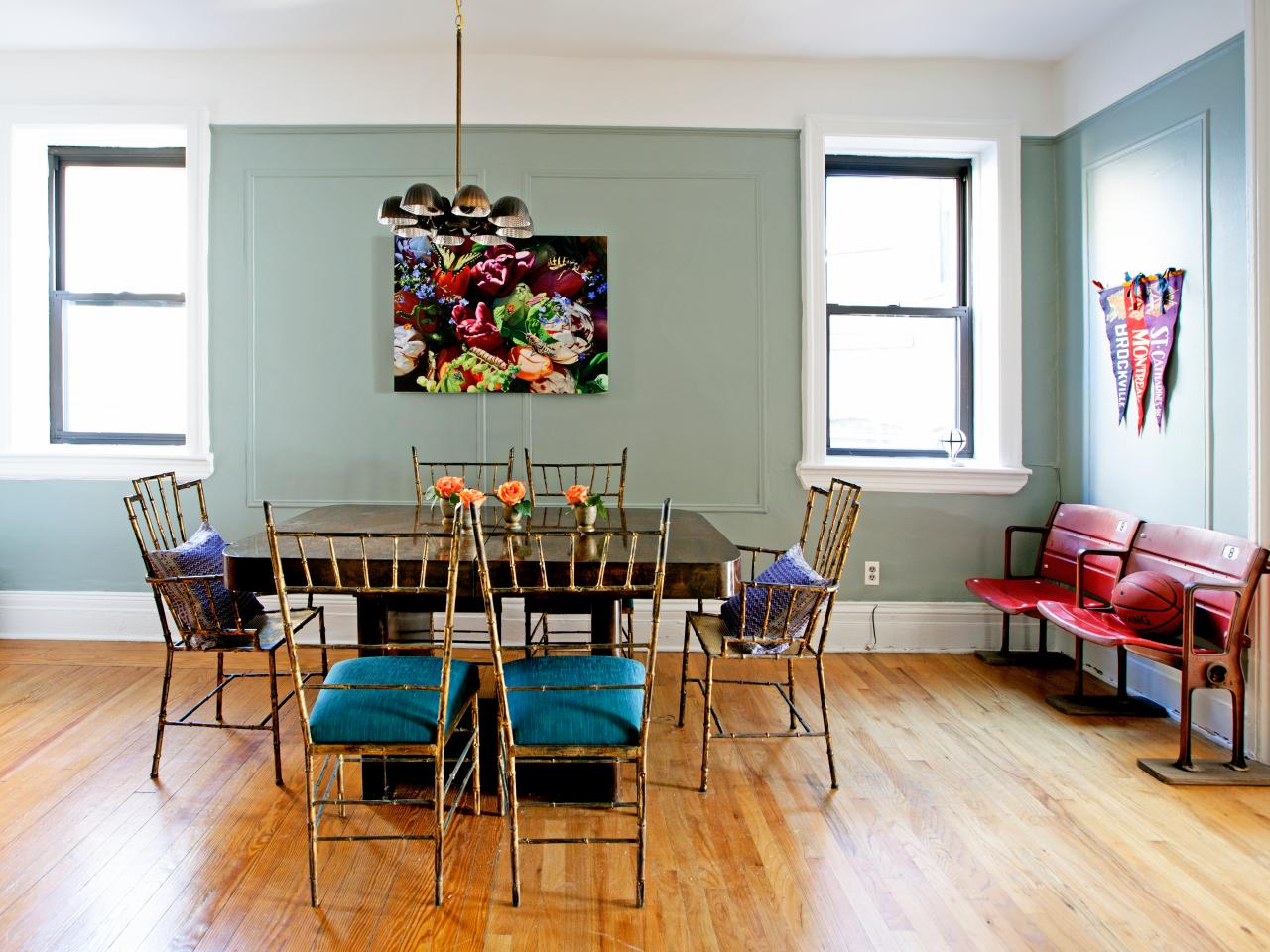 Eclectic Dining Room With Vintage Stadium Seating