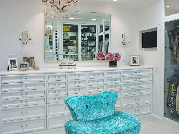 Eclectic White Walk-In Closet with Dresser