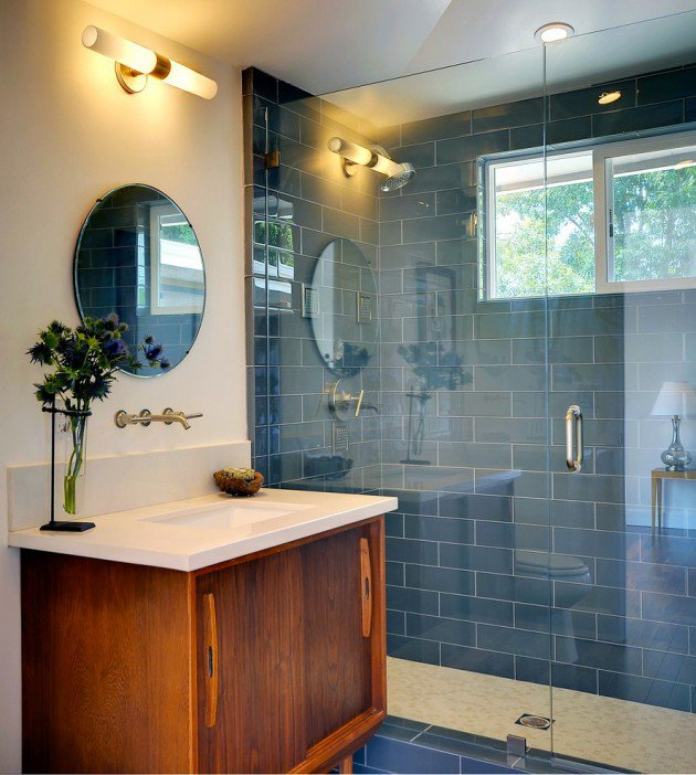 30 beautiful midcentury bathroom design ideas for Mid century modern bathroom vanity ideas