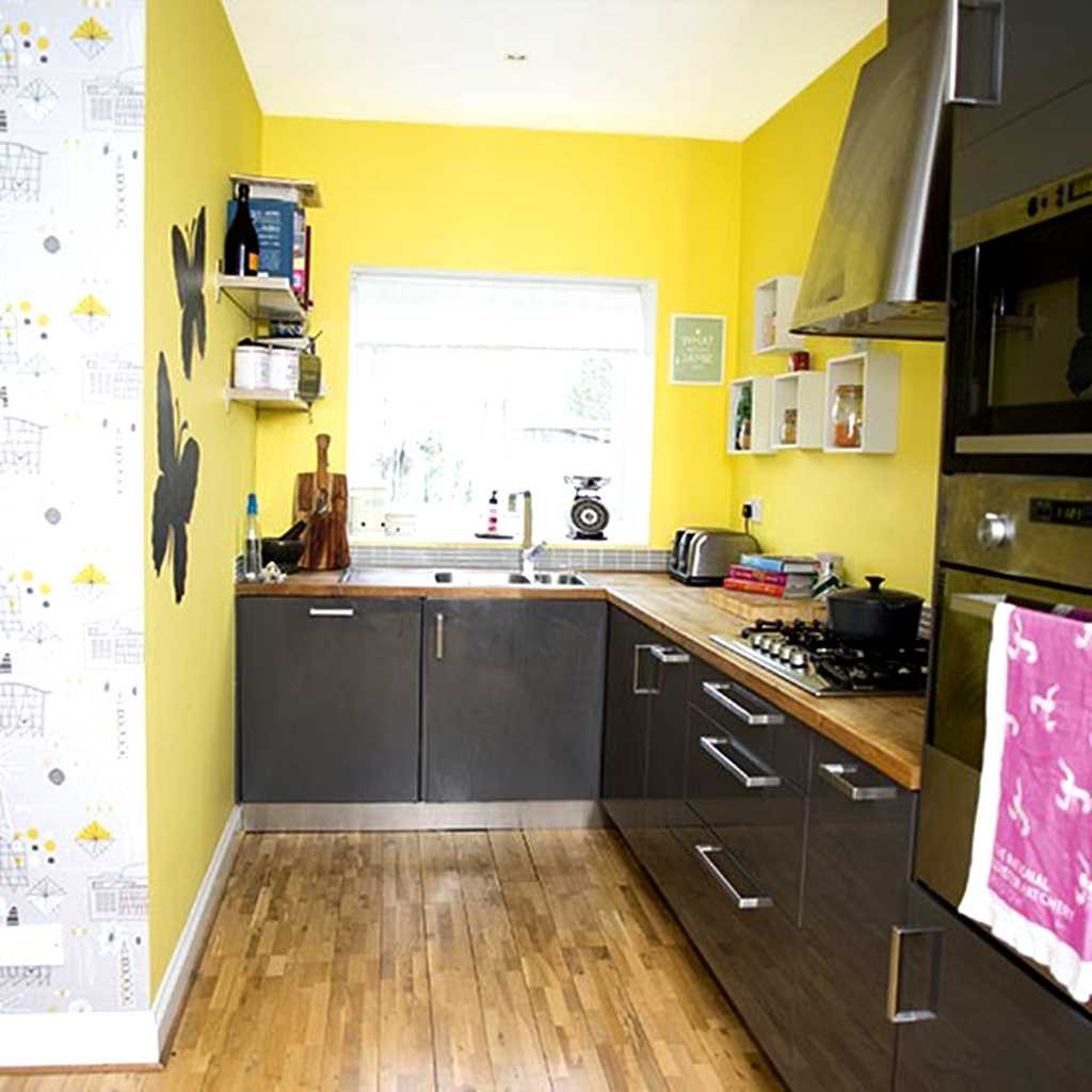 25 modern small kitchen design ideas for Modern yellow kitchen cabinets