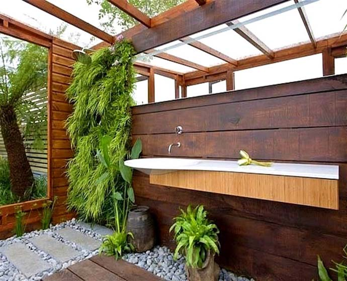 Outdoor Bathroom In The Middle Of A Tropical Garden. Outdoor Tropical  Bathroom Designs