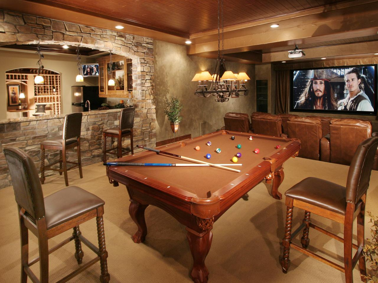 Rustic Basement Design