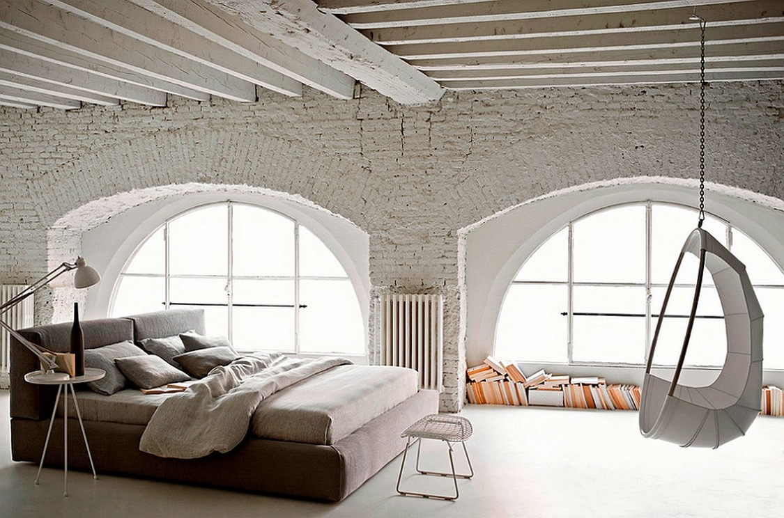 Spacious-industrial-bedroom-design-ideas-with-white-brick-