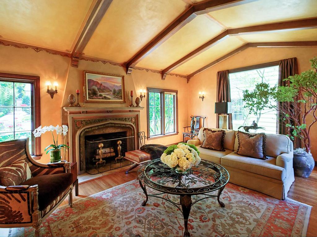 Yellow Living Room With Vaulted Ceiling