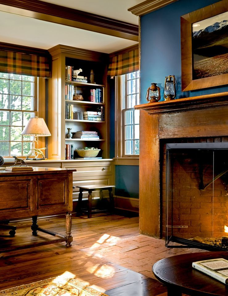 Build In Bookshelves Dark Wood Fireplace For Traditional . Custom Home  Design Traditional Home Office