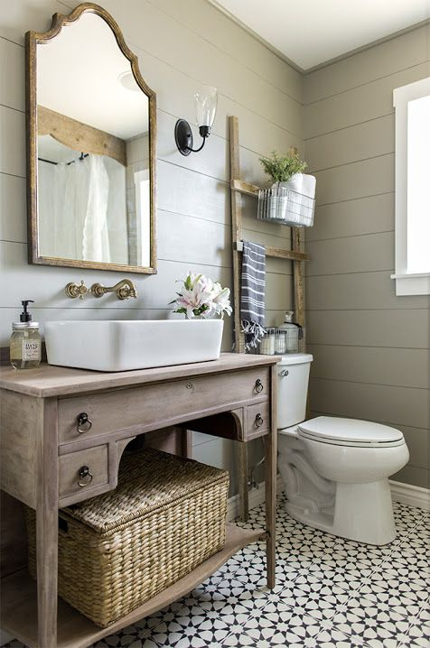 cozy farmhouse styled bathroom