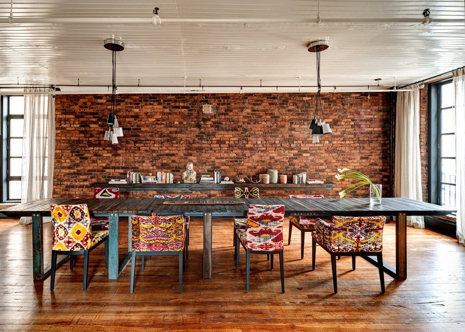 Eclectic Dining Room With Table Pendant Lights