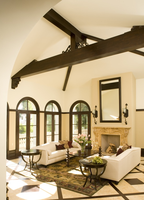 mediterranean-living-room-with-vaulted-ceiling