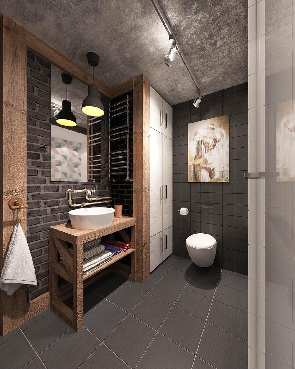 30 awesome industrial bathroom design ideas. Black Bedroom Furniture Sets. Home Design Ideas
