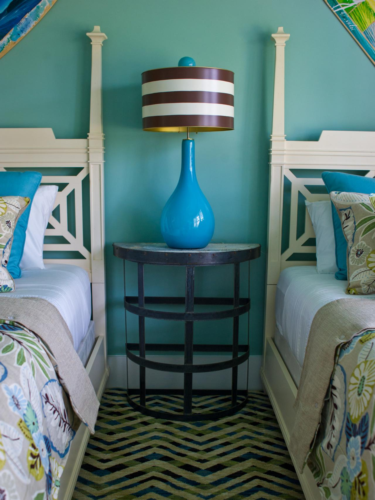 A Brightly Colored Turquoise and Coral Asian-Inspired Bedroom