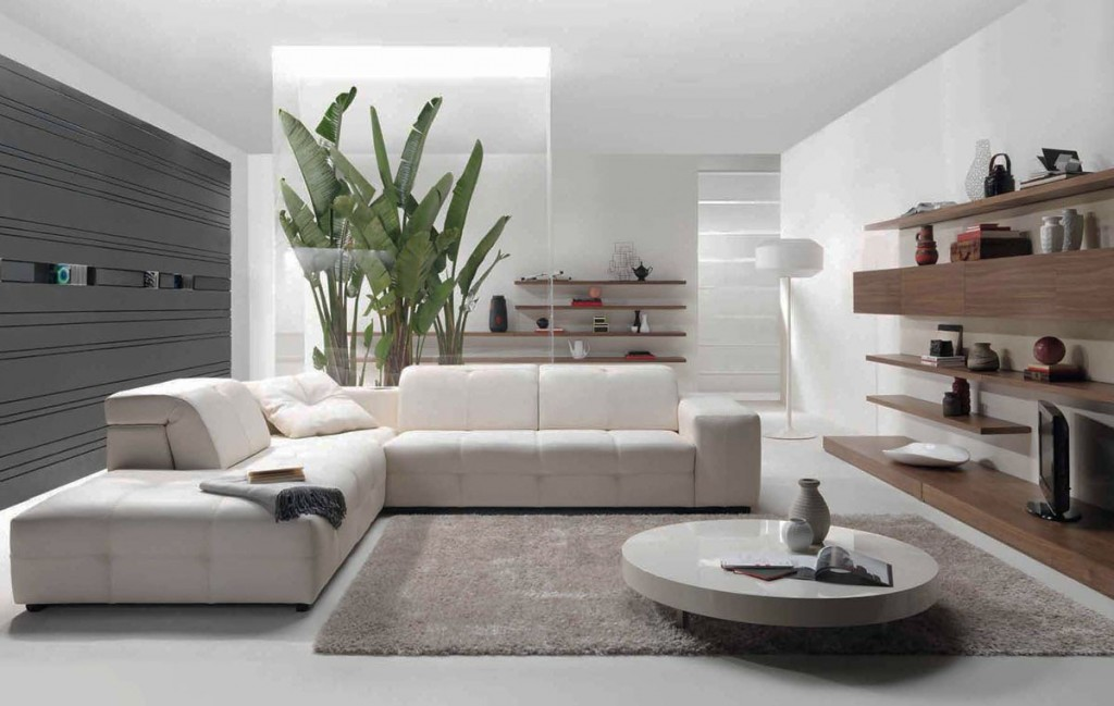 All white modern living room modern house - Living room modern ...
